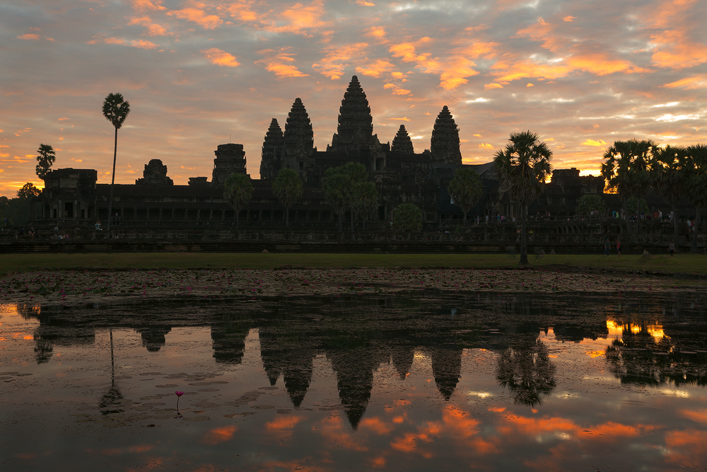 Sunrise at Angkor Wat, the largest temple complex near Siem Reap.