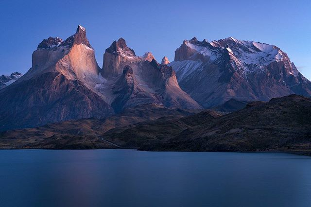"Sleeping Giants - pre dawn light over the iconic ""cuernos"" in Torres del Paine National Park."
