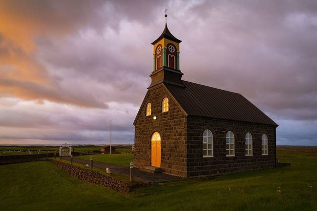 Just another black church on a peninsula, but this time it's not in Budir!  Shot on my very first night (of 20) in #Iceland for our summer adventure tours.  Prepare your feed for Iceland overload... #mystopover