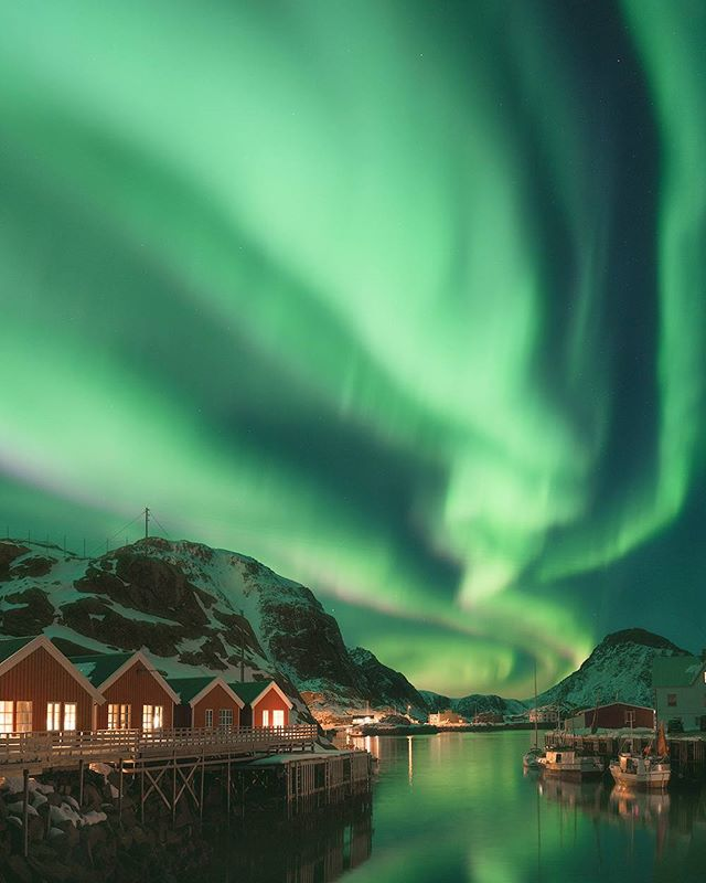 Even sleepy fishing villages come alive when the Aurora borealis shows up.  Taken last year adjacent to our cabin in the Lofoten Islands, Norway.