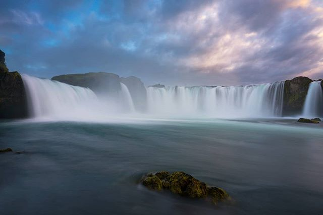 From below, the veil of Godafoss is sublime. If you enjoy waterfalls, Iceland in summer is a must.