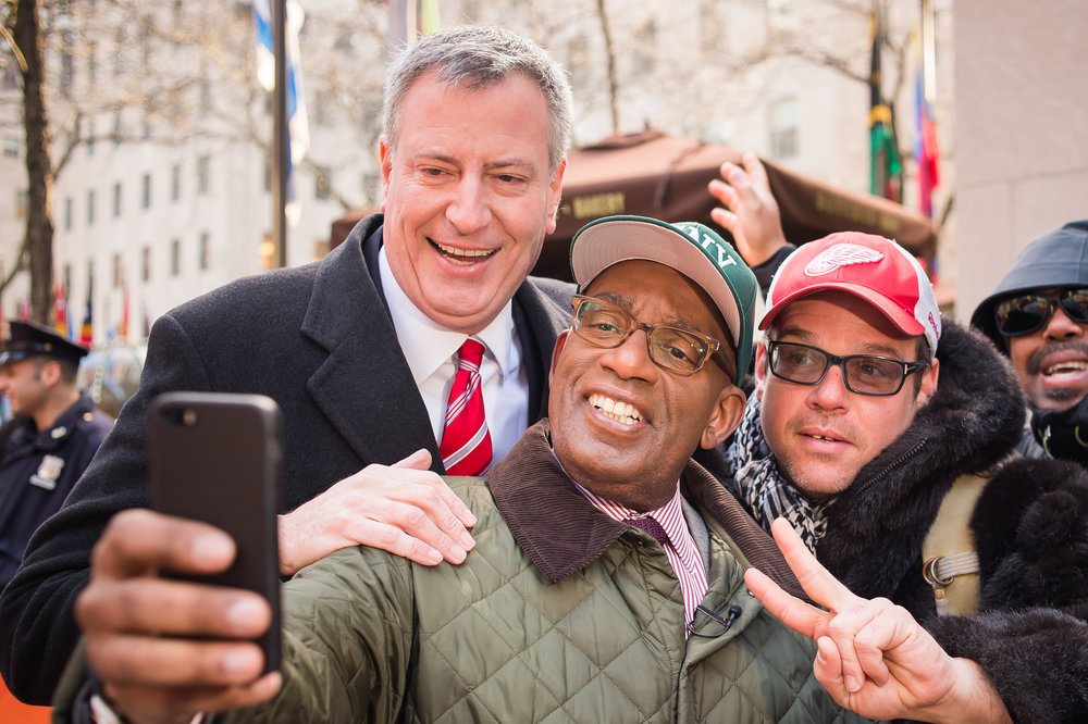 On assignment, Today Show, Mayor Bill de Blasio and Al Roker, 2015. Photo by Rob Bennett.