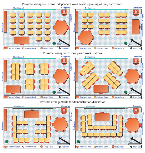 This might help brainstorm some ideas for seating arrangements. Click on the image to get more information from BehaviorAdvisor.com.