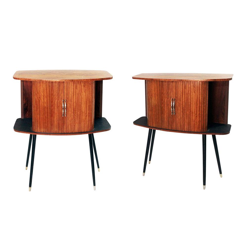 Pair of Italian Tambour Cabinets