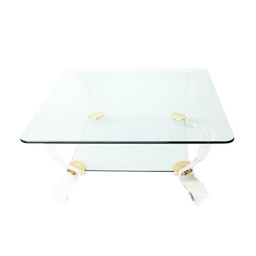 Elegant Square Glass Lucite Coffee Table Ground One Six