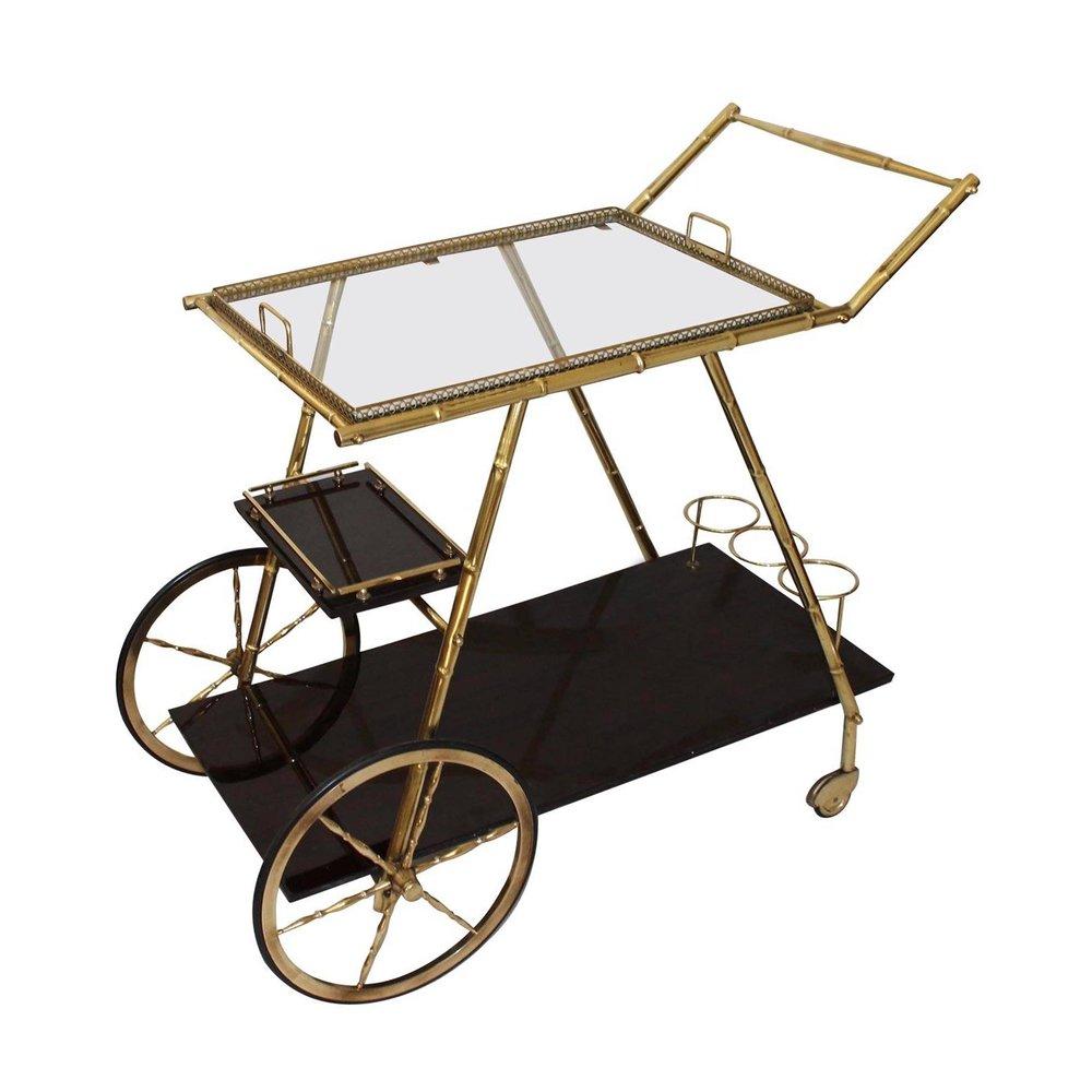 Brass Bamboo Bar Cart