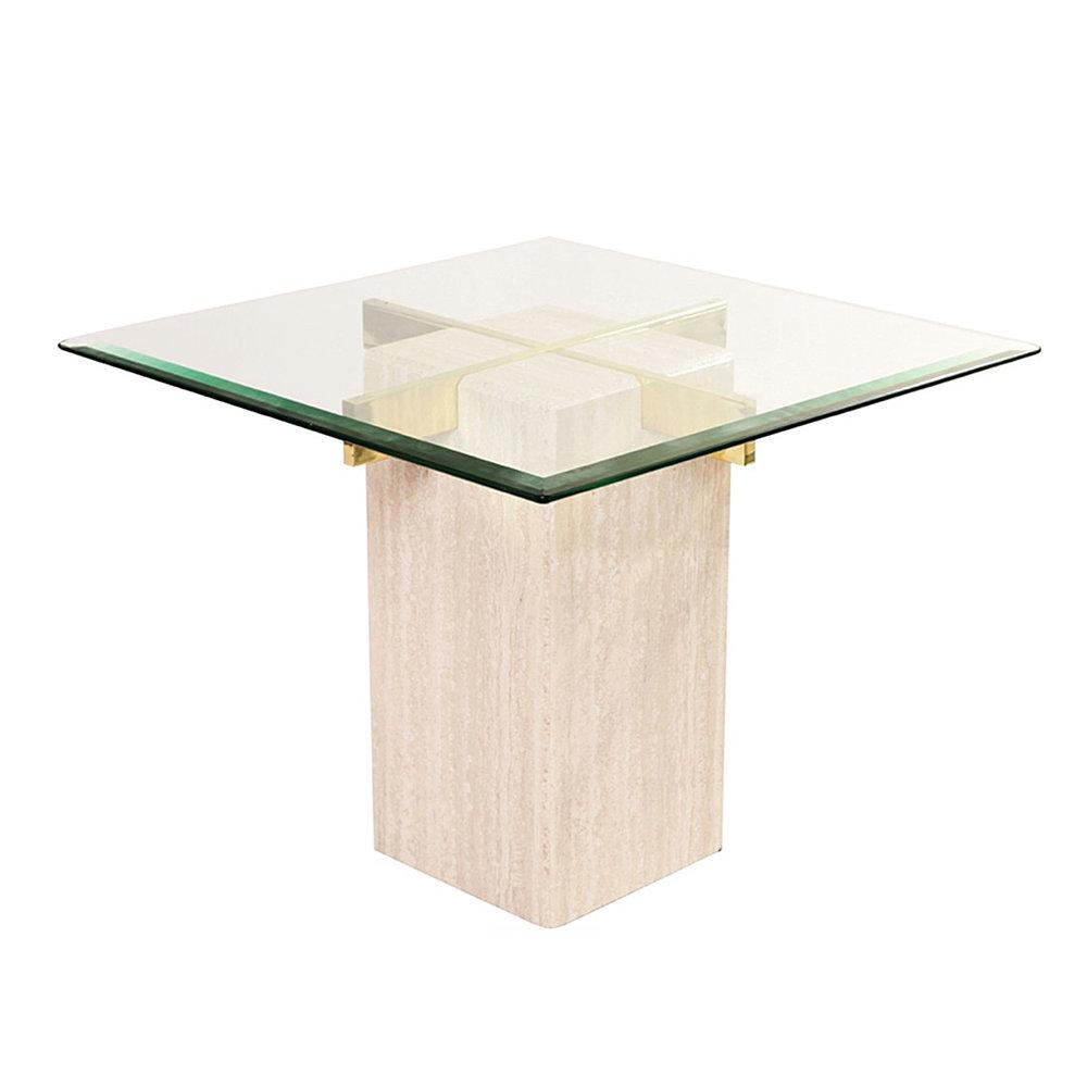 Artedi Travertine & Brass Side Table