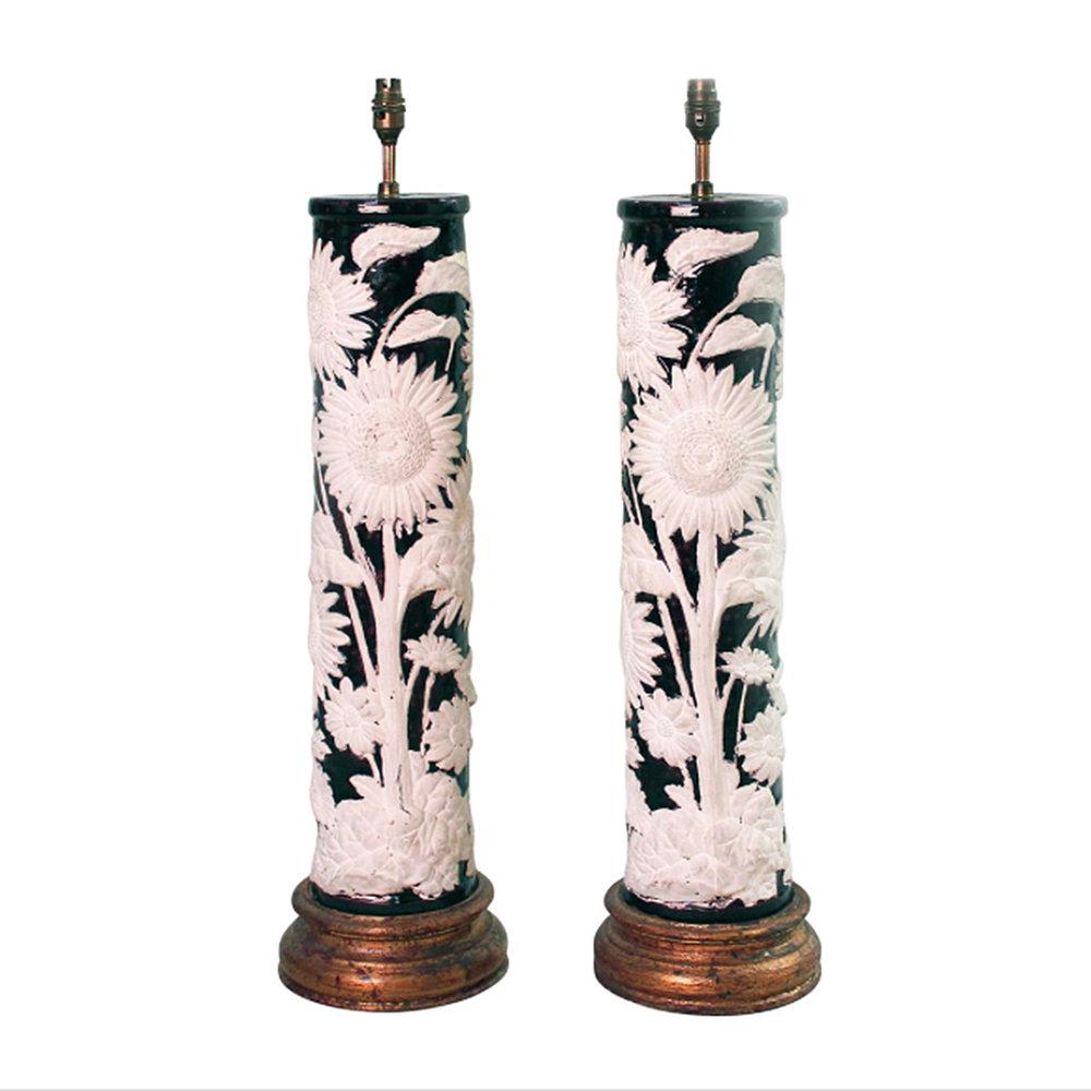 Tall Ceramic Sunflower Lamps