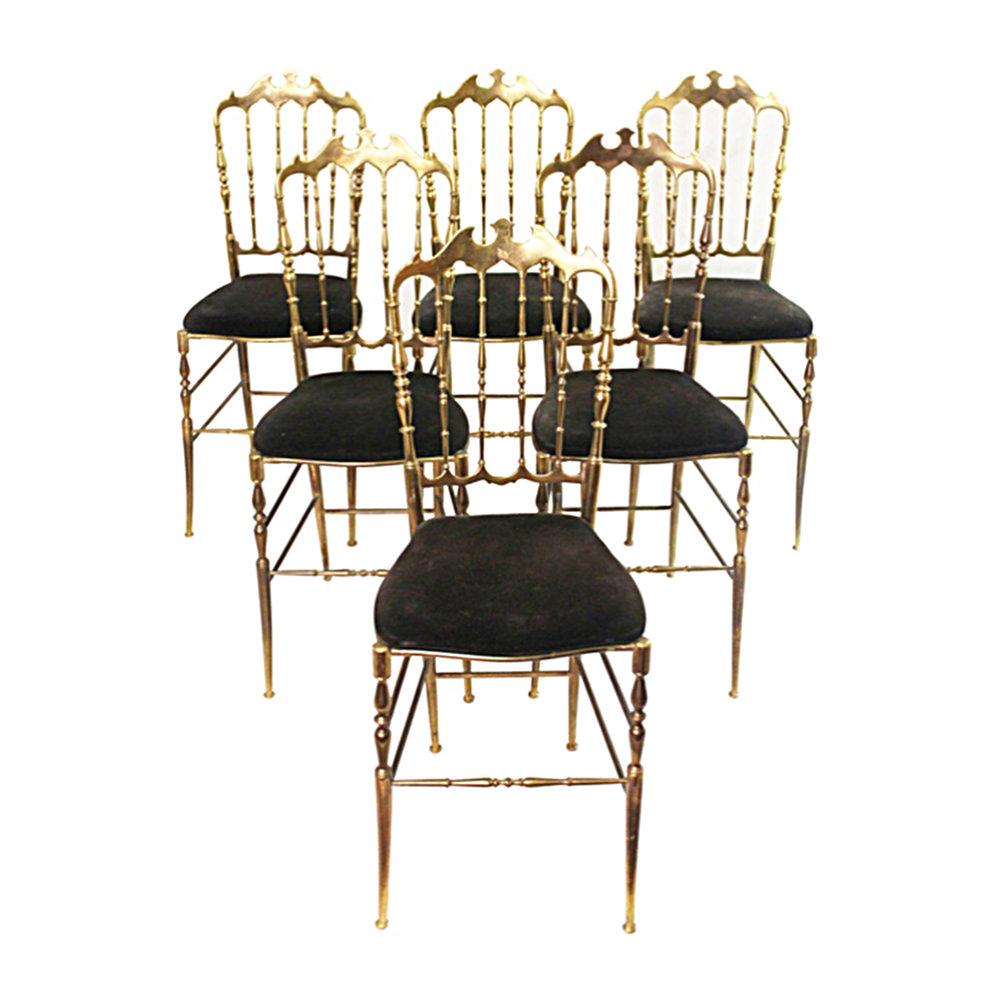Complete Set of Chiavari Brass Chairs