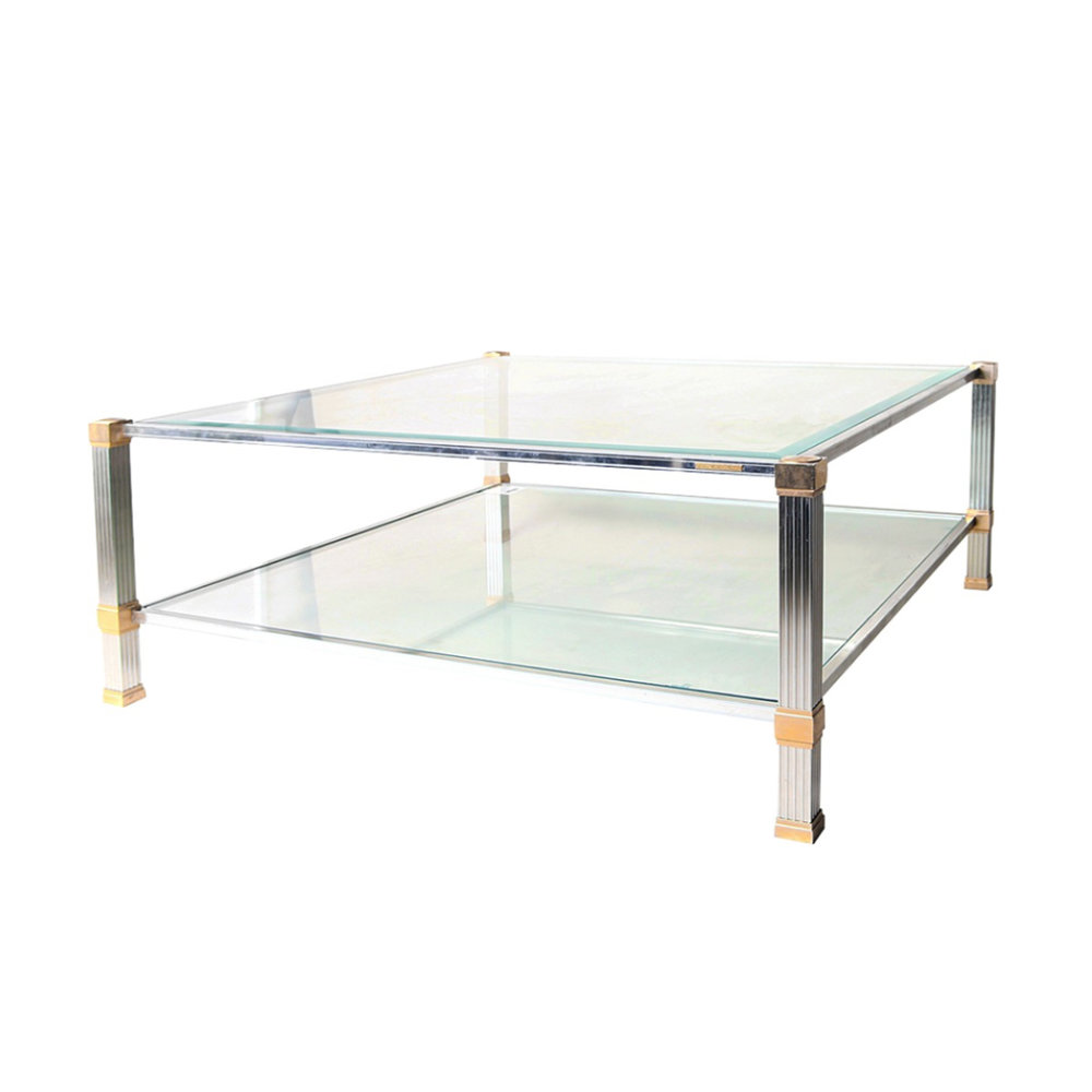 Signed Pierre Vandel Square Coffee Table