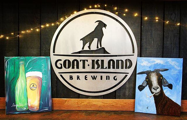 Two baad goats and a nice cold beer! We love our local artists! #nobaadbeer #shoplocal #drinklocal #localartist #goatislandbrewing #craftbeer #tastytuesday #cullman