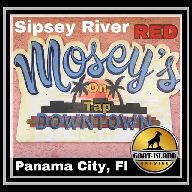 Goat Islands Award Winning Sipsey River Red is on tap at Mosey's Downtown in Panama City! #nobaaaadbeer #PCB #sipseyrivertakemymind #whitesandcoldbeer