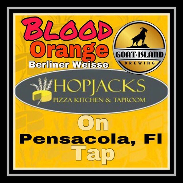 Blood 🍊 Orange Berliner Weisse on tap at Hopjacks pizza 🍕 Kitchen and Taproom! #nobaaaadbeer #pensacola #whitesandcoldbeer
