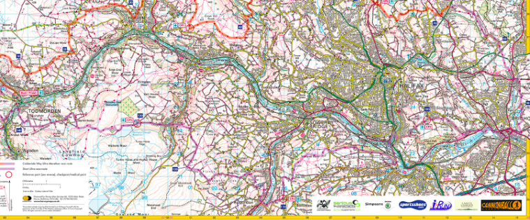 Calderdale Way Full Map Ultra Walking Marathon ReLa