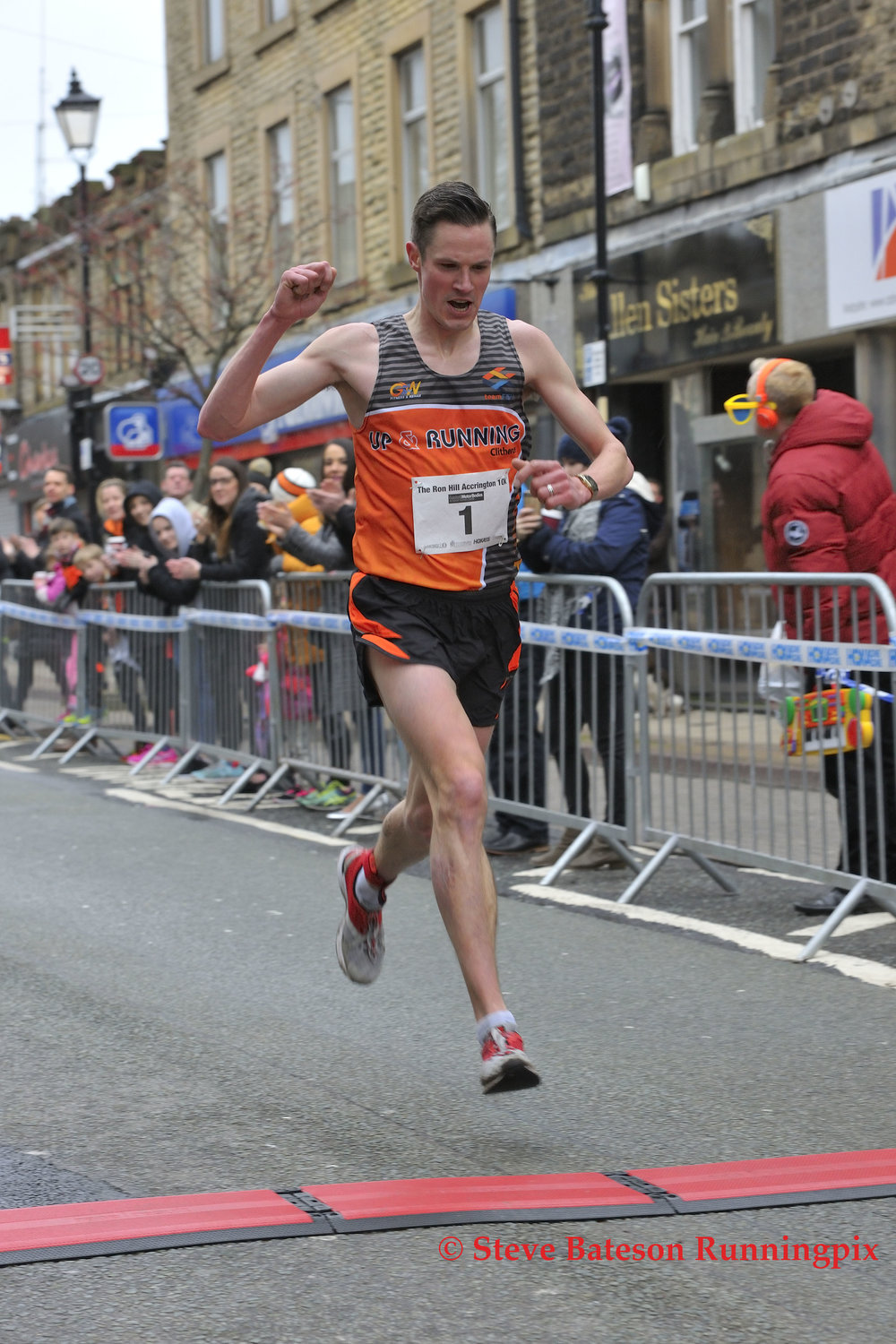 Live results appear online instantly when a runner crosses the finish line. (Ron Hill Accrington 10k 2017)