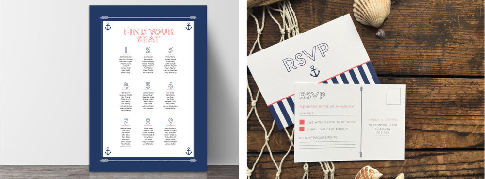 Table plan and RSVP cards