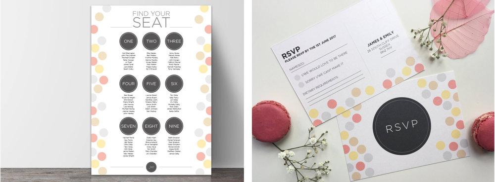 Seating plan and RSVP cards