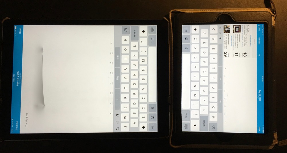 iPad Pro set in portrait orientation on the left, iPad Air 2 (in a BookBook Case) in landscape orientation on the left.