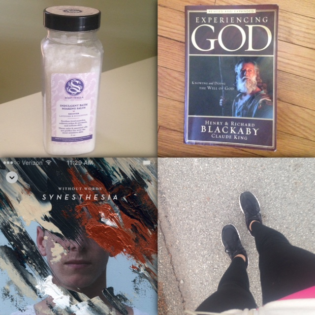 "Soapwalla Indulgent Bath Soaking Salts (Lavender & Eucalyptus), ""Experiencing God:  Knowing and Doing The Will of God"" by Henry and Richard Blackaby, ""Without Words: Synesthesia"" album by Bethel Music, a deeply connecting soul stroll"