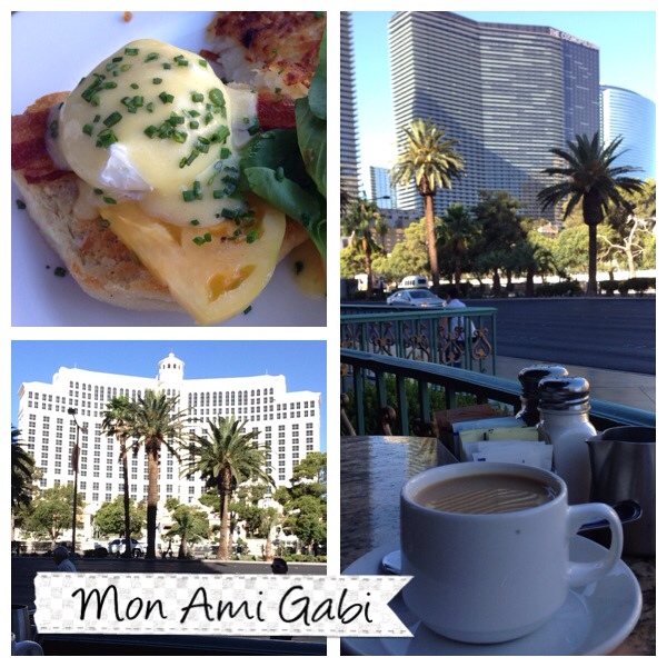 Since this trip was a working trip for my husband and a vacay for me I did find some time to myself. I decided it was early enough for breakfast on The Strip. I had the special bacon eggs Benedict and it was fabulous. I did order an extra side of bacon and that was even more fabulous. I also enjoyed the quite morning view of the strip before the city awoke with its normal hustle and bustle.