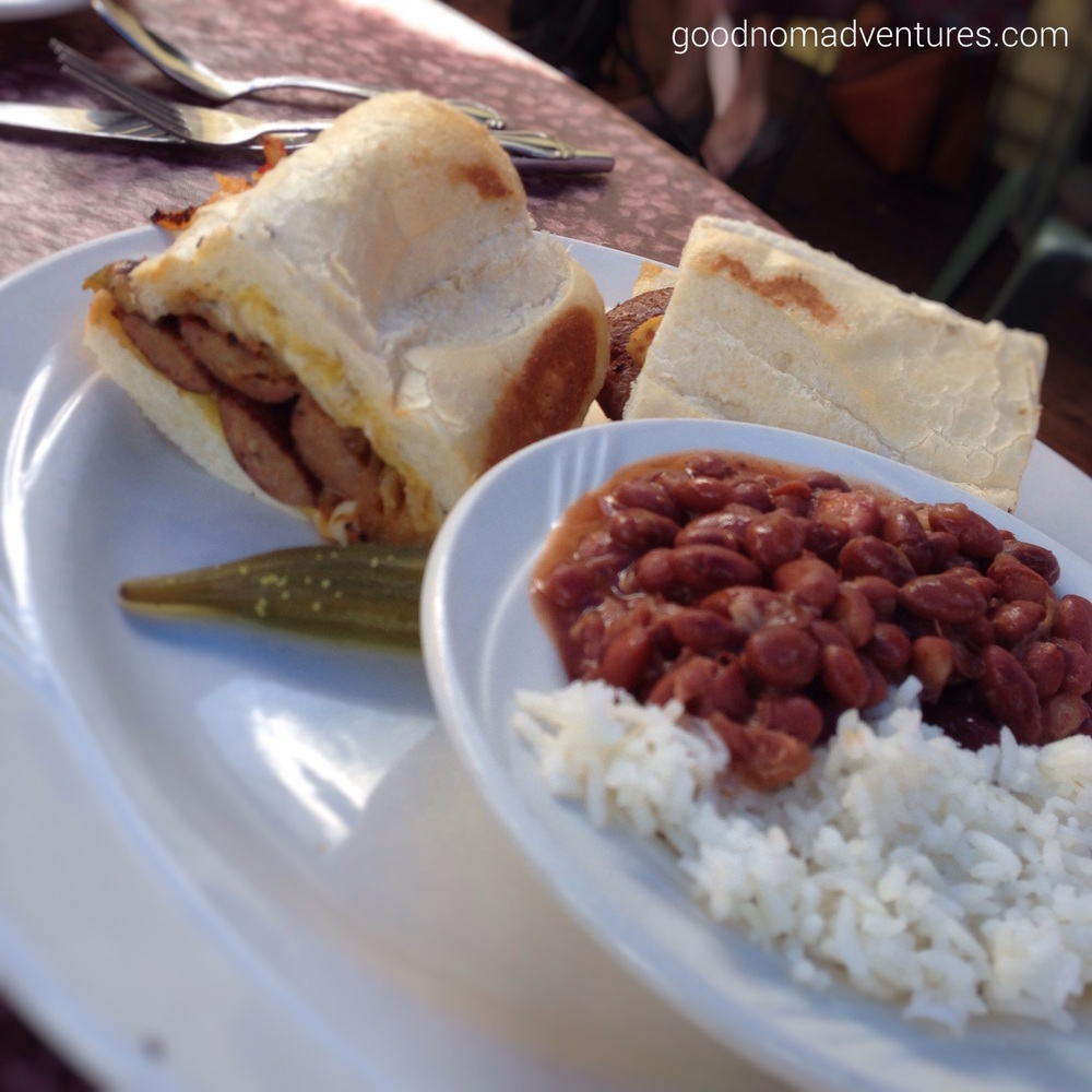 Sausage sandwich with red beans and rice