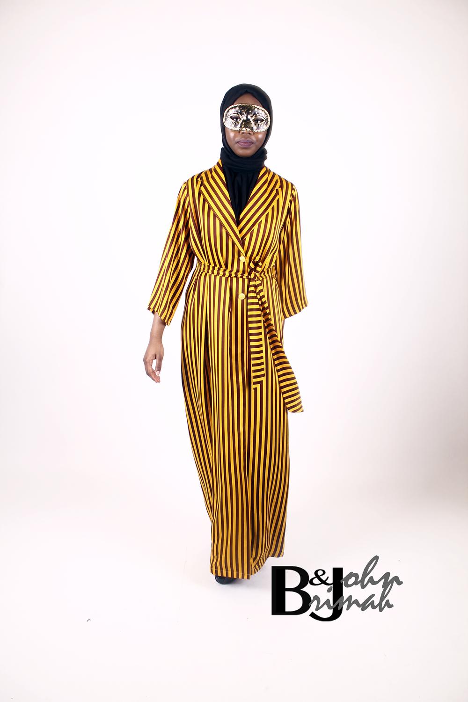 Striped Mustard Wrap Dress