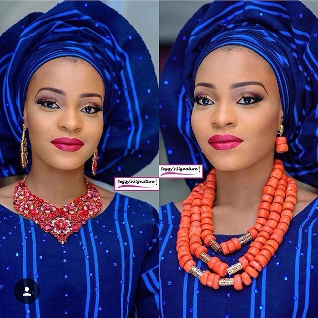 Bride In Colourful Striped Gele and Aso Oke
