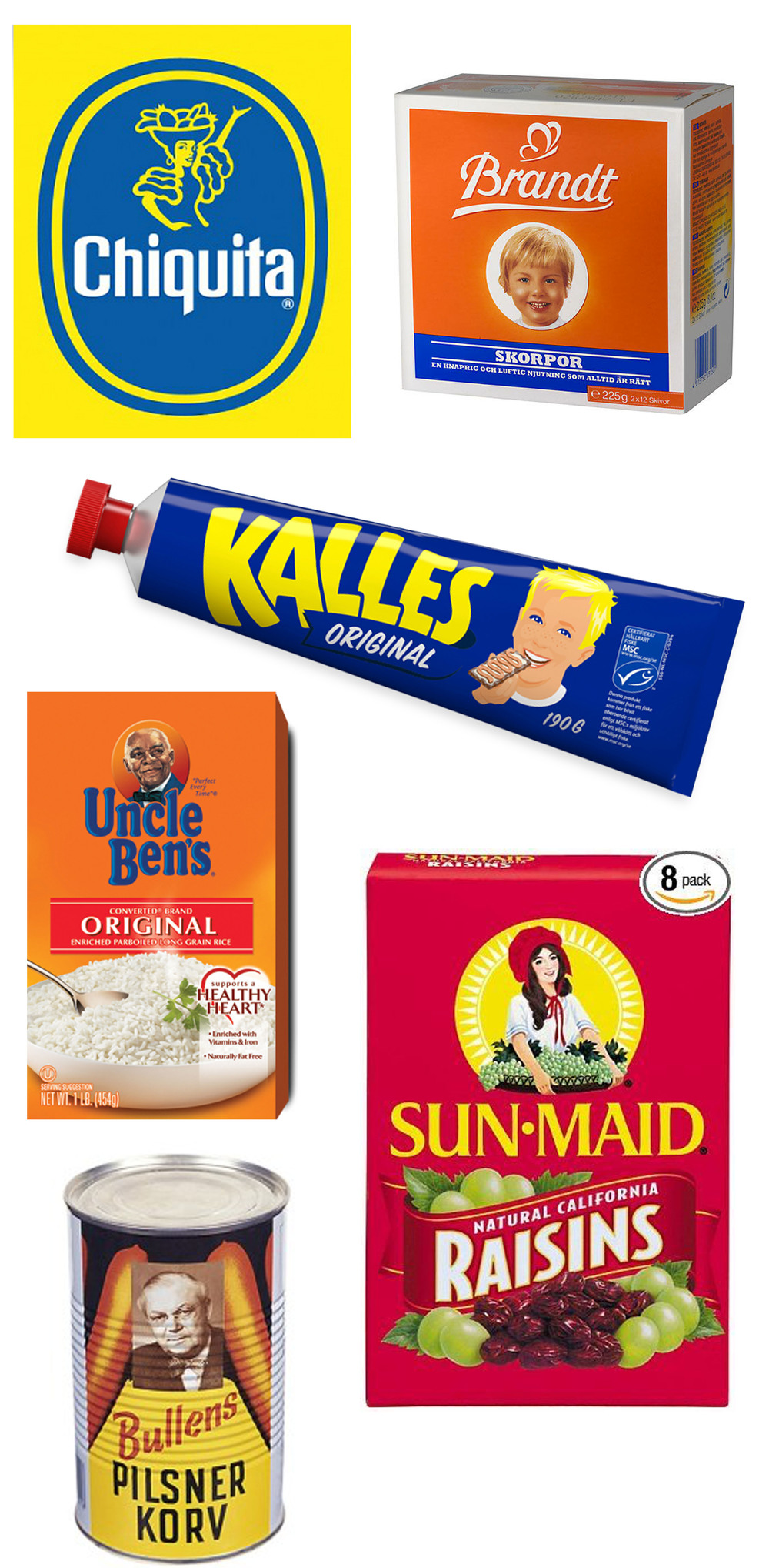 Iconic faces on packaging (swedish)