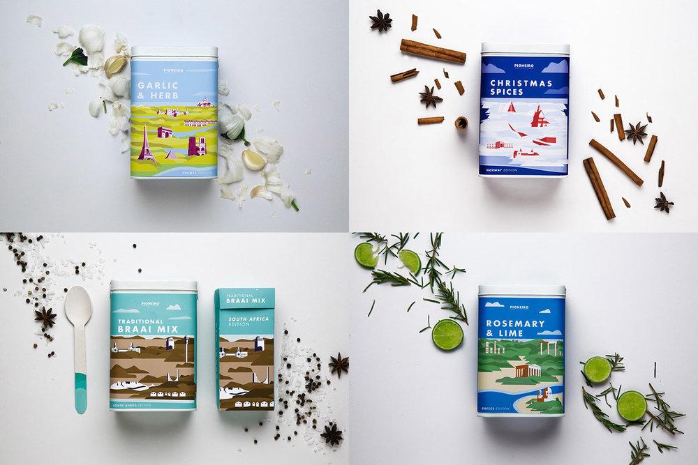Studentprojekt för kryddblandningar, med illustrationer som tydligt visar kryddornas ursprung. Läs mer  här