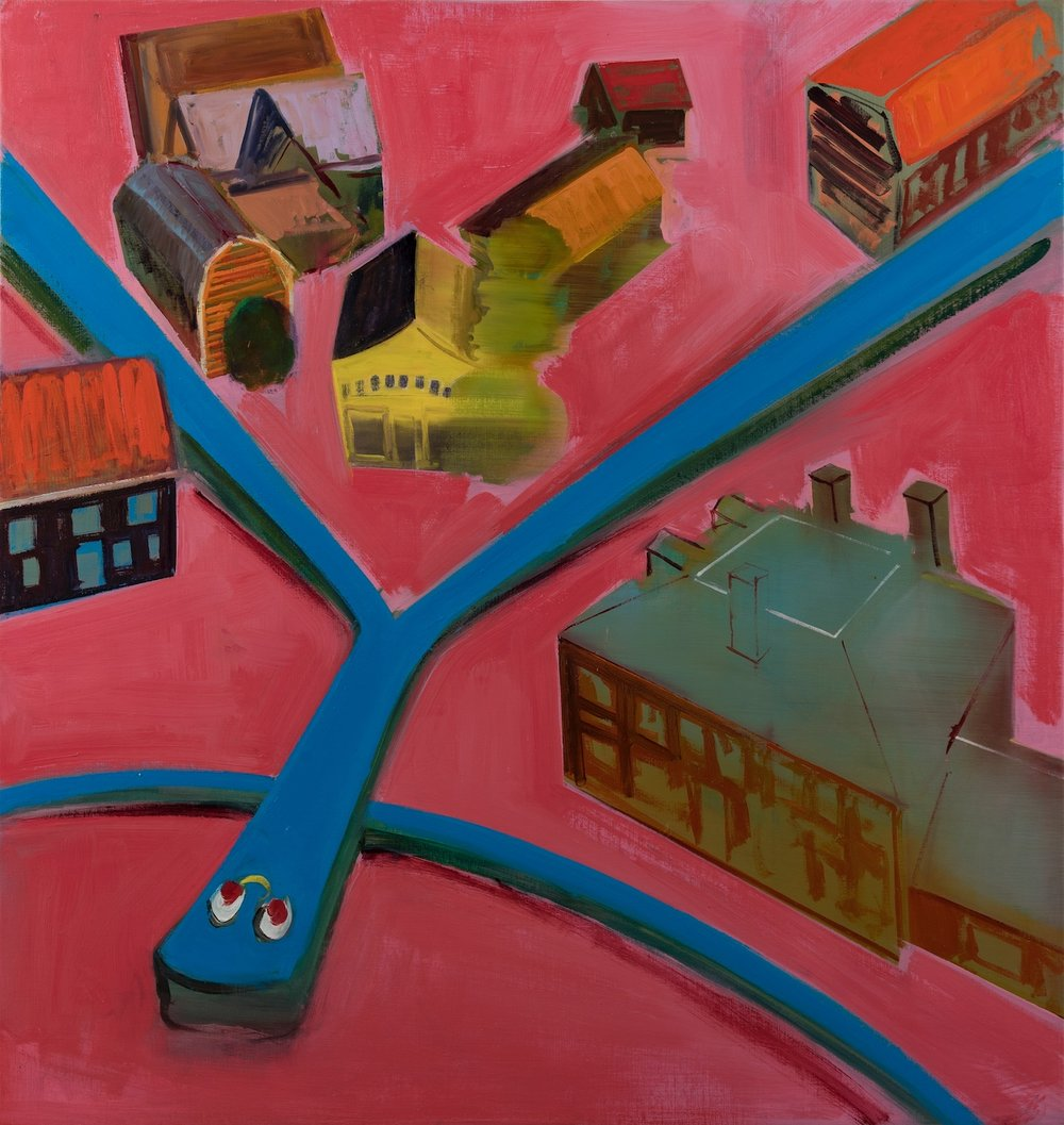 "(image: Barbara Friedman, Gumby in Town Square, 2016, oil on linen, 44"" x 42"")"