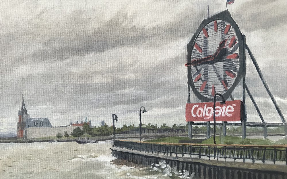 Doug Madill,  The Colgate Clock, Jersey City , 2017, oil on canvas, 13 x 20 inches.