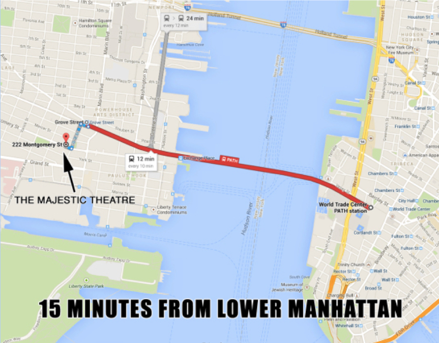 (PATH to GROVE St stop: PATH Trains from WTC, 33rd St, 23rd St, 14th St, 9th St, and Christopher St)