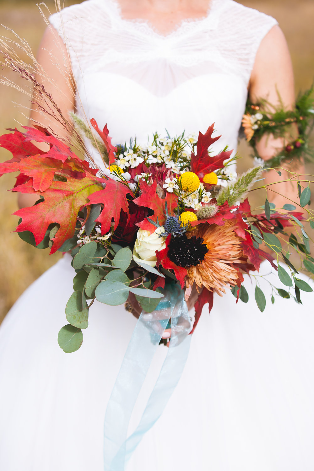 april's garden arm band for bride  autumn floral wedding  bridal flowers  durango florist  durango wedding