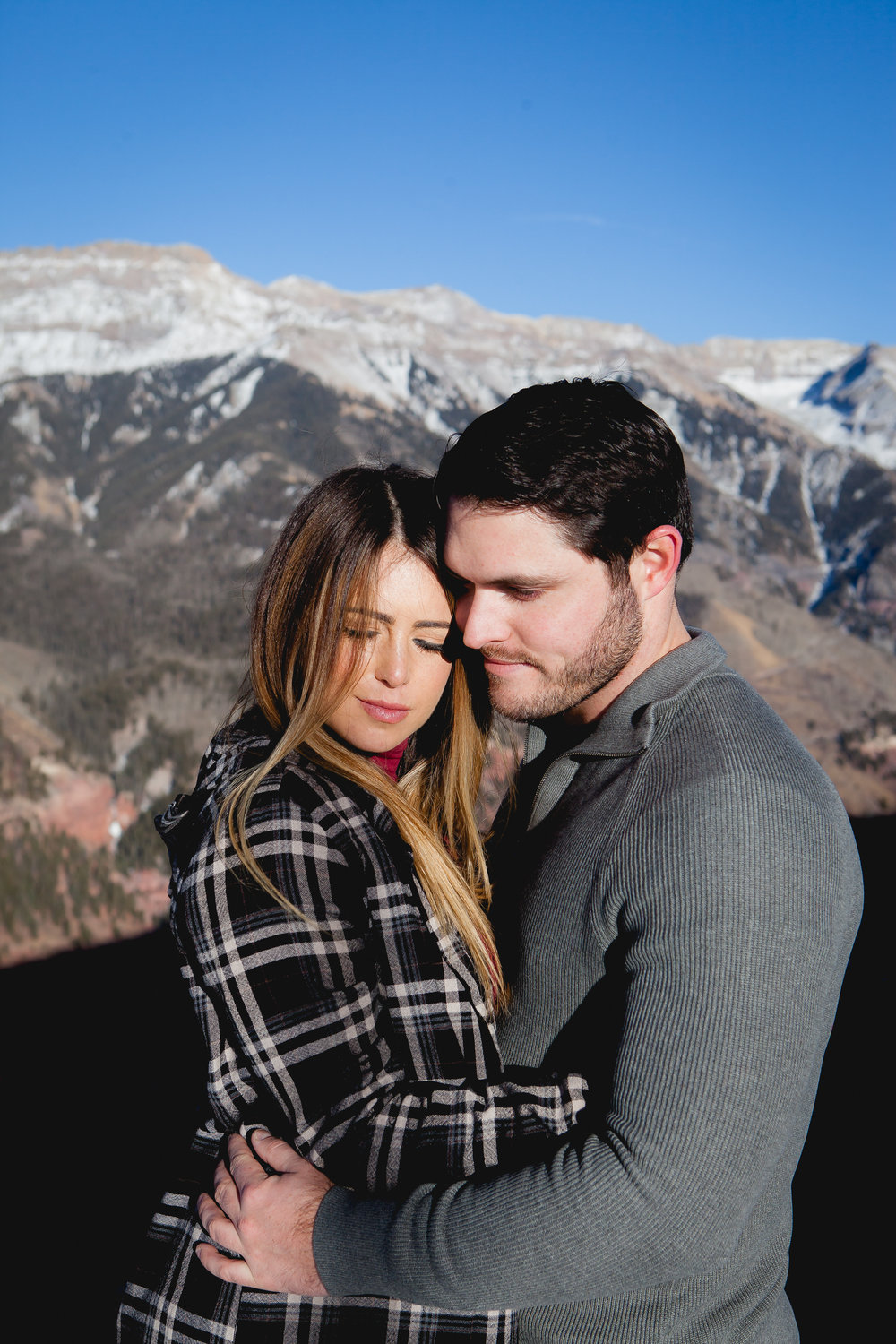 winter engagement session in tellluride colorado