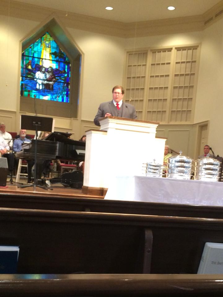 Aaron preaching at Brookwood Baptist Church, Birmingham, AL on his ordination day.