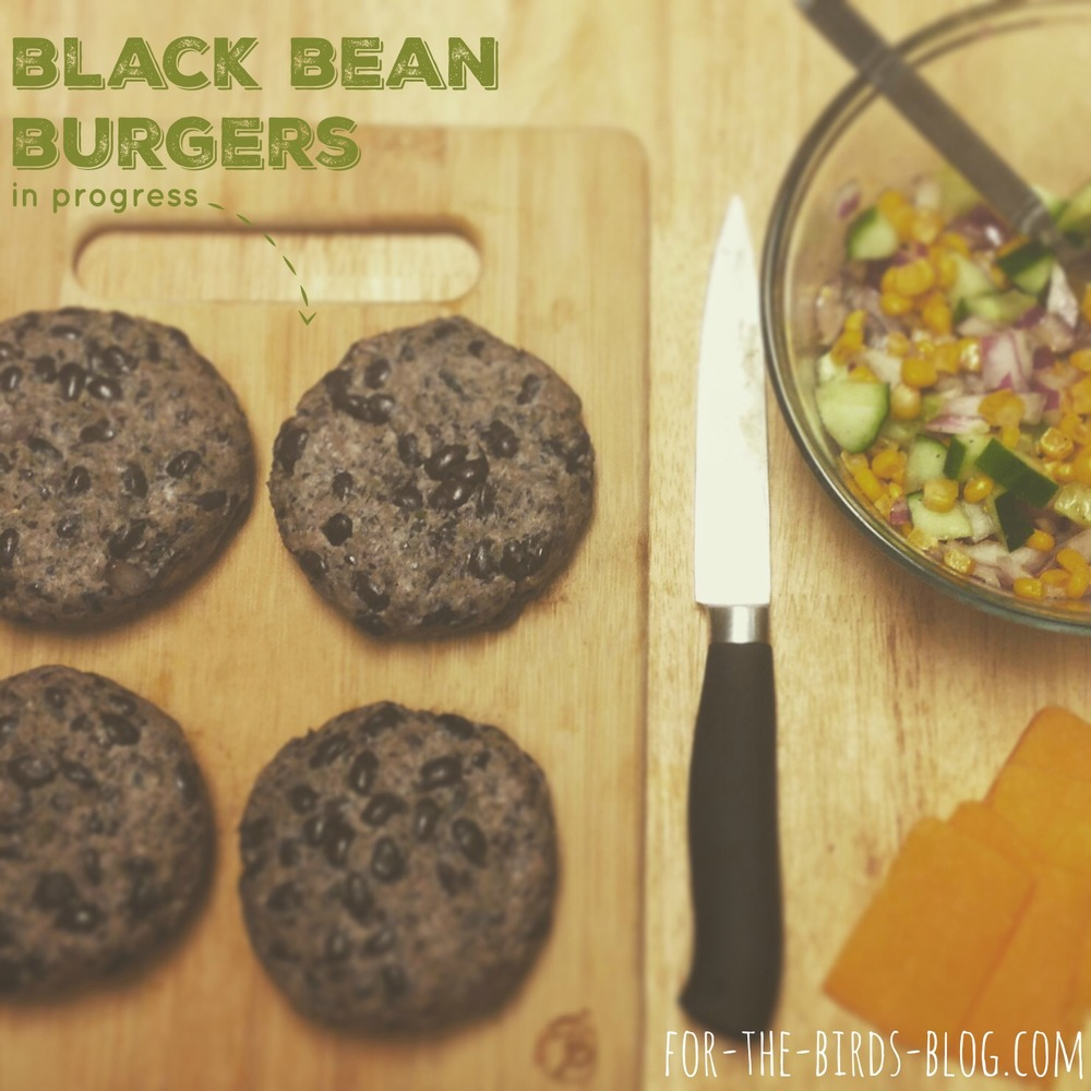 black bean burgers in progress