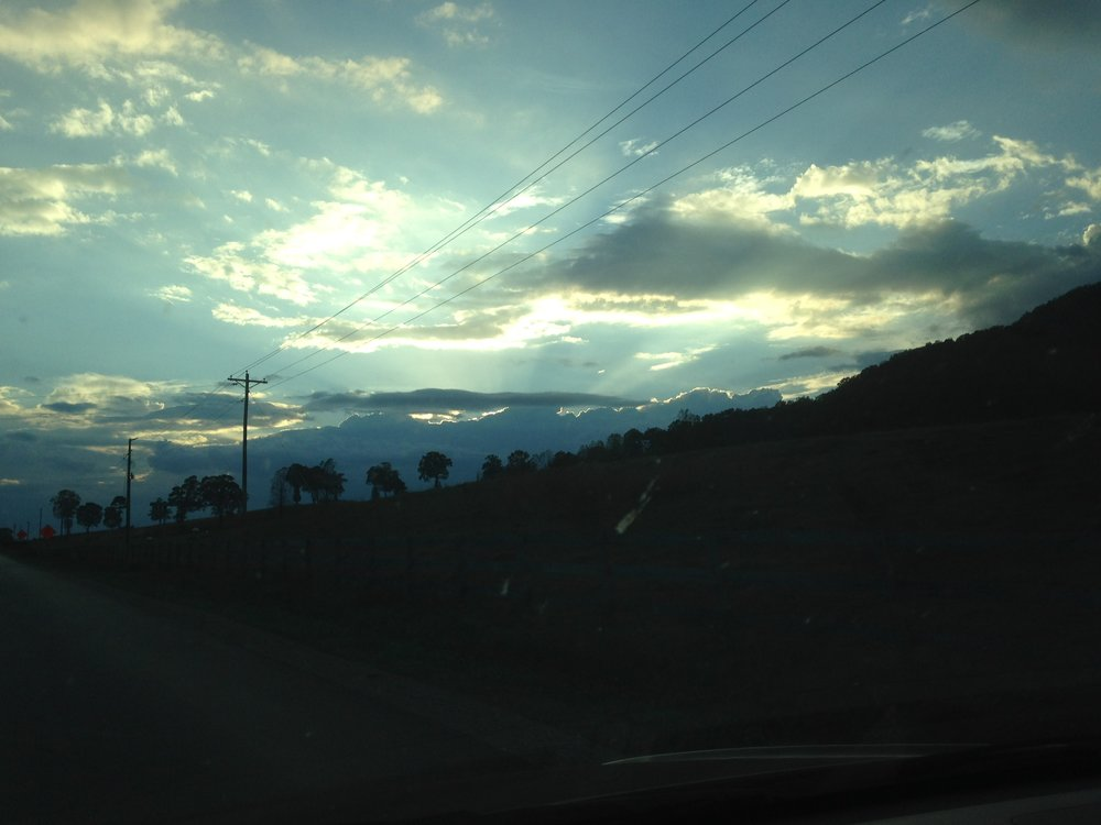 (A view from my drive up to Aunt Monica's.)
