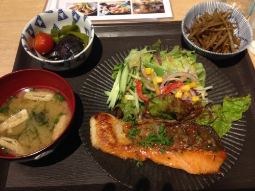 I took a picture of our first meal in Japan- an amazing set meal of salmon with side dishes. おいしかった (delicious) !