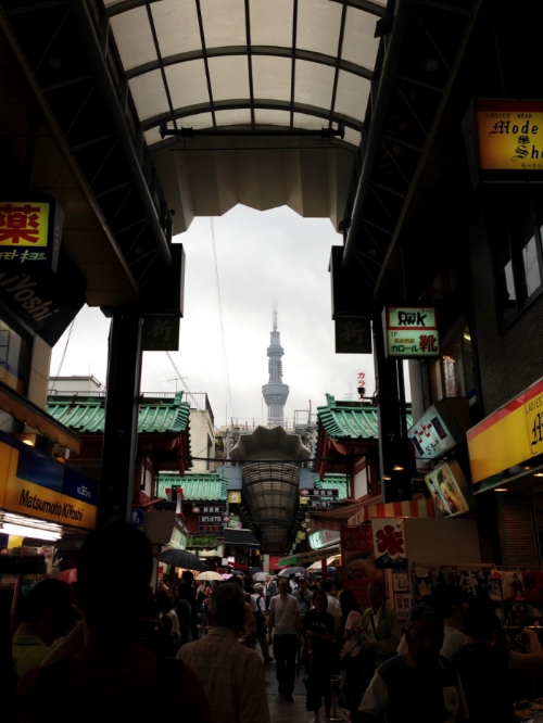 One last picture- a view of Tokyo Skytree from a shopping center in Asakusa!