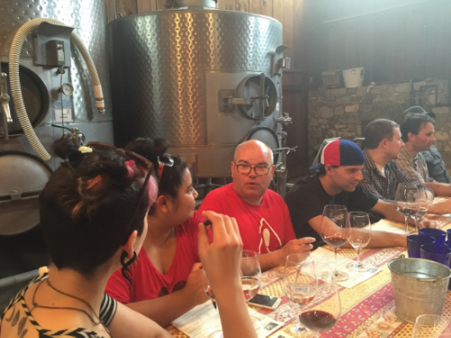 Barrel Room staff enjoying a tasting at Corison Winery in Napa Fall 2015.