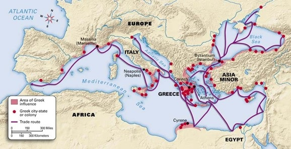 Areas of Greek influence in the Mediterranean, circa 600 BCE