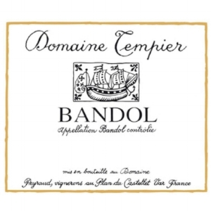 Domaine Tempier  Bandol Rouge : Mourvèdre (75%) + Grenache (14%) + Cinsault (9%). Aromas of dark fruit, spice, and leather. Tempier was instrumental in the replanting of Bandol vineyards to Mourvèdre.
