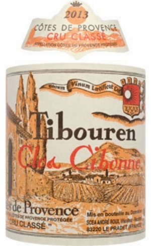 Clos Cibonne  Tibouren : Tibouren (100%). Aromas of orange peel and spice; a little salinity.