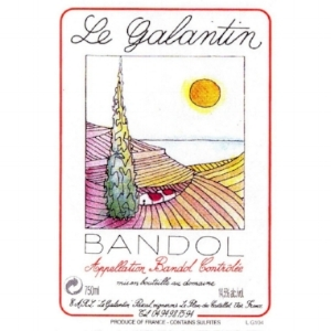 Le Galantin  Bandol : Mourvèdre (50%) + Cinsault (25%) + Grenache (25%). Mineral, with complex aromas of red fruit and citrus. Full bodied & generous. Le Galantin has 30 hectares of organically farmed vineyards.