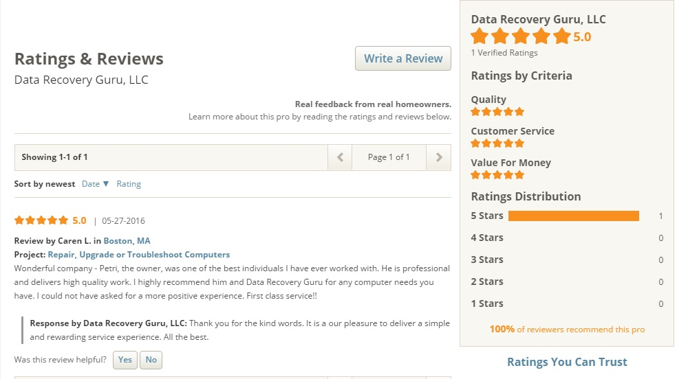 Data Recovery Guru Home Advisor Review