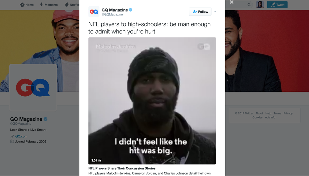 "NFL Players Share Their Concussion Stories - NFL players Malcolm Jenkins, Cameron Jordan, and Charles Johnson detail their own struggles with head trauma and offer an important message: Want to really ""man up""? Sit out when you're hurt."