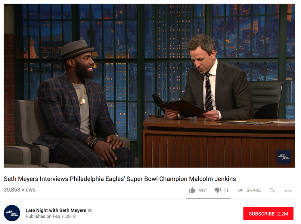 Seth Myers -  Philadelphia Eagles safety Malcolm Jenkins talks about his stylish suit company, becoming a Super Bowl champion for the second time and why this win means more than his first with the New Orleans Saints.