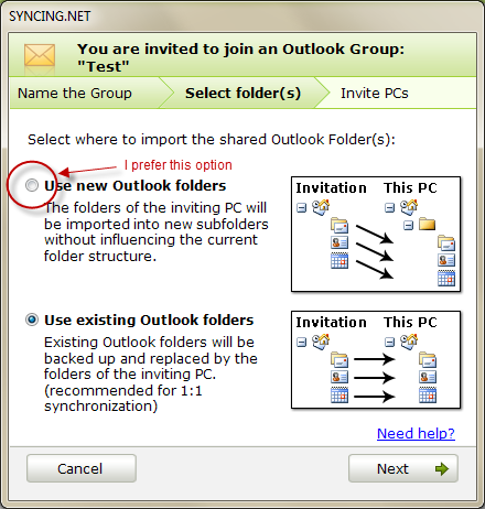 Syncing.net Select Folders