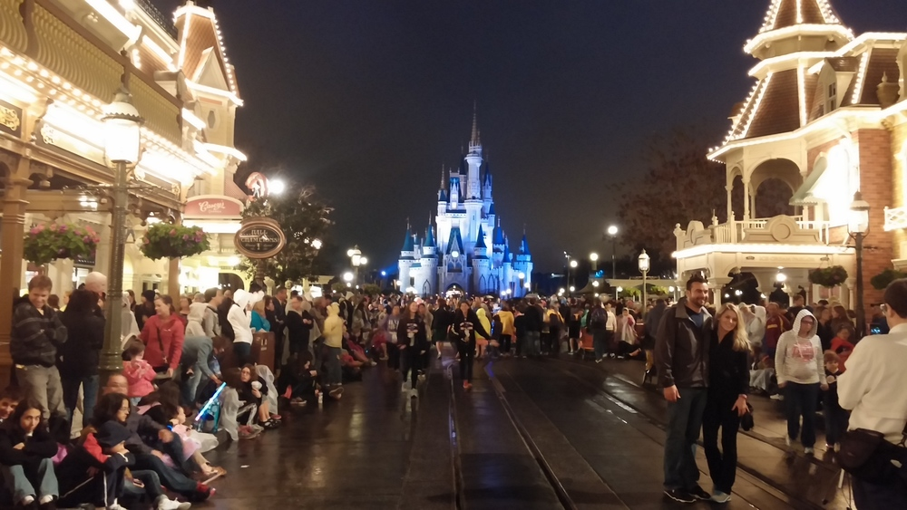 Disney World Magic Kingdom on a chilly rainy evening