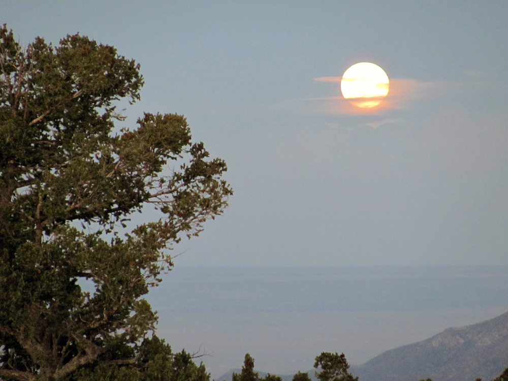 moonrise on the east side of Sandia Peak